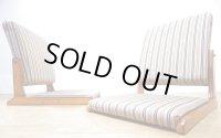 【送料無料】 展示品 和モダン 折り畳み 座椅子 背もたれ可動式 ストライプ 2脚セット